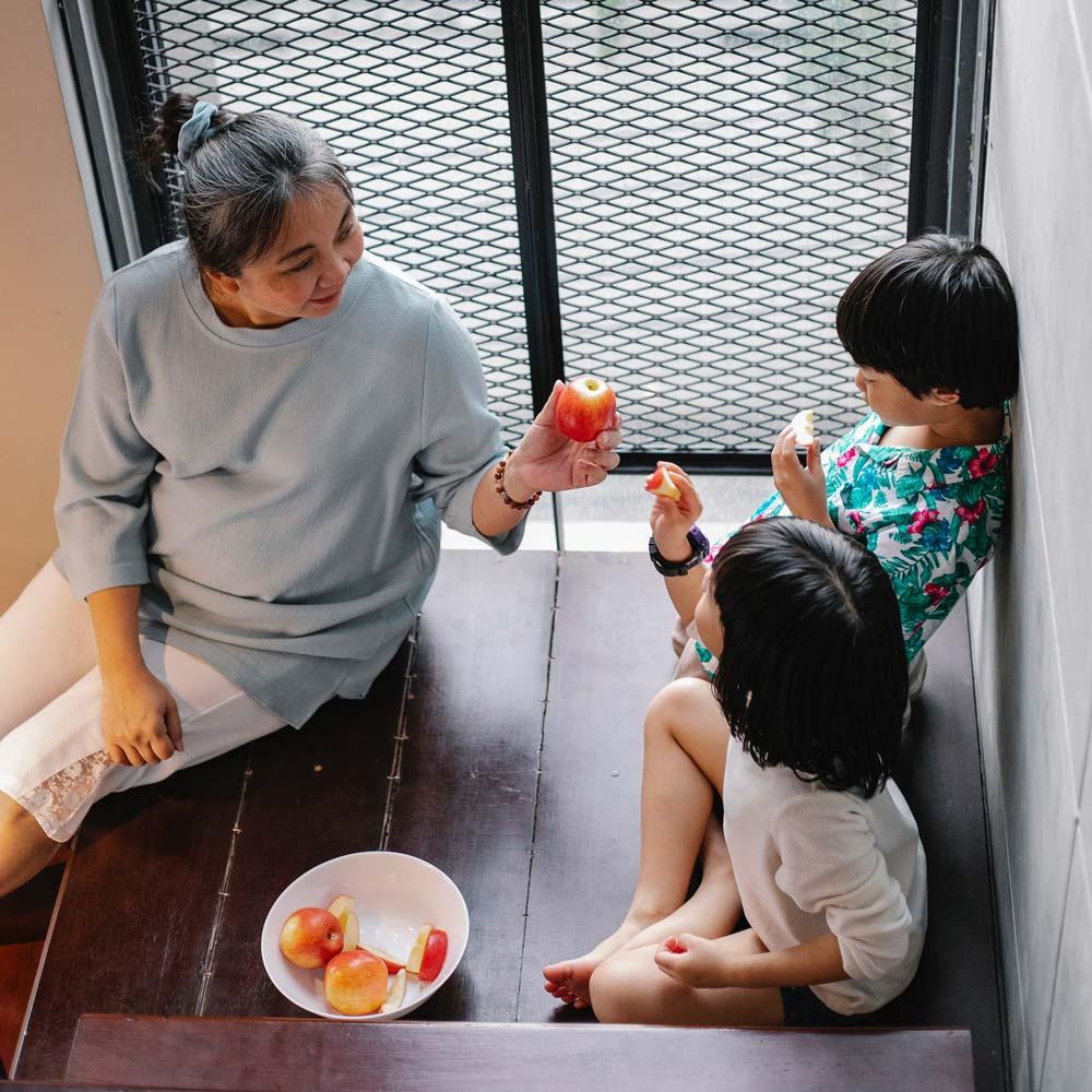 Asian Grandmother with grandchildren